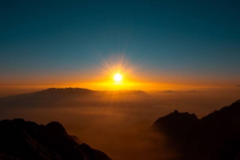 夕日が沈む光景