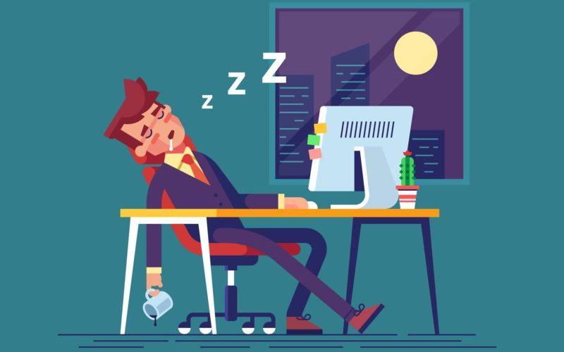 残業中に寝てる人