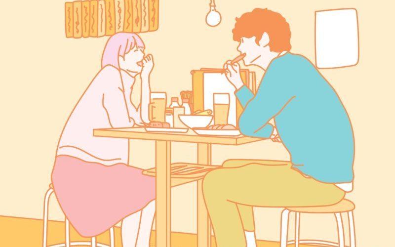 カフェでご飯する男女